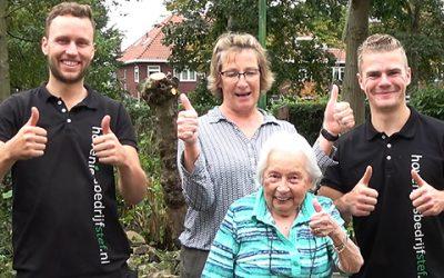96 jarige geniet van tuin, hulp bij onderhoud gevraagd.